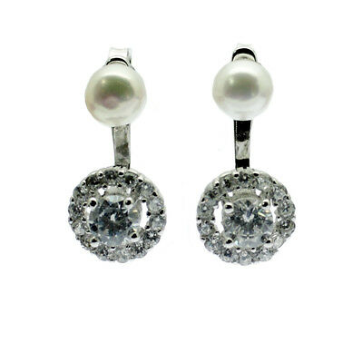 Pearl Earrings Faux Diamond Cluster Freshwater Pearl Sterling Silver Jacket