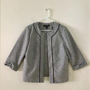 Women-s-Size-12-Perceptions-New-York-Gray-Open-Front-Blazer-3-4-Sleeve-New-W-O-T