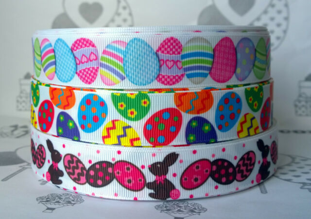 "✜ 1m EASTER GROSGRAIN RIBBONS 7/8"" 22mm Cake Bow Hair Gift Wrapping Present ✜"