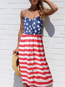Women-039-s-Stars-US-American-Flag-Spaghetti-Strap-Sleeveless-Tunic-Dress
