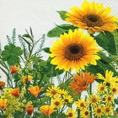 4 x Single Paper Table Napkin/Decoupage/Craft/Sunflower/Yellow Meadow Flowers