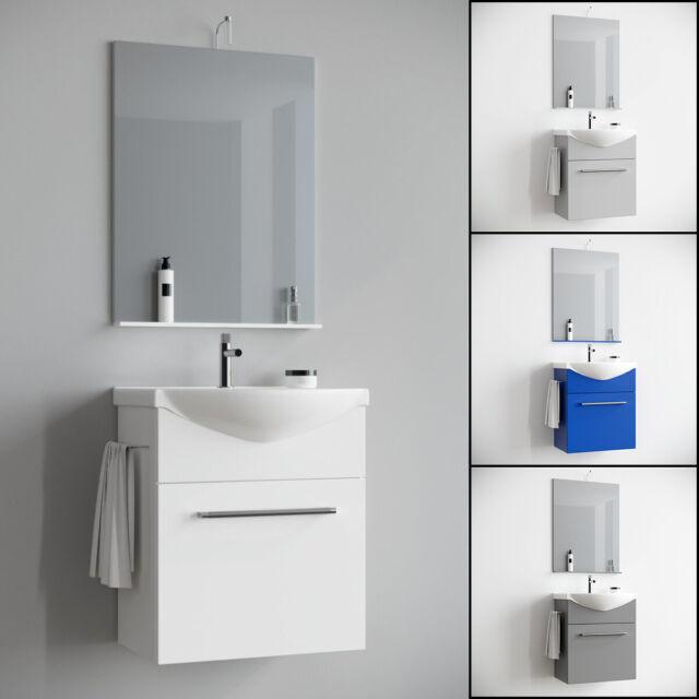 Mobile bagno sospeso salvaspazio moderno lavabo ceramica specchio 60 cm