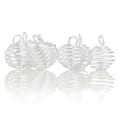 50 Pendentifs Spirale Cage à perle pierre Bijoux Accessoire 18x15mm