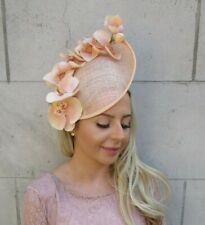 Large Dusky Nude Pink Green Gold Floral Teardrop Fascinator Hat Headband 7067