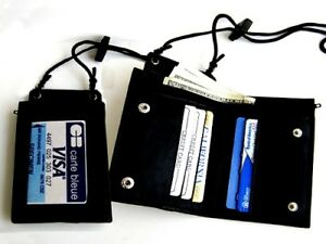 GENUINE-LEATHER-Neck-Strap-ID-Badge-6-Credit-Cards-Holder-Zip-Lanyard-Wallet