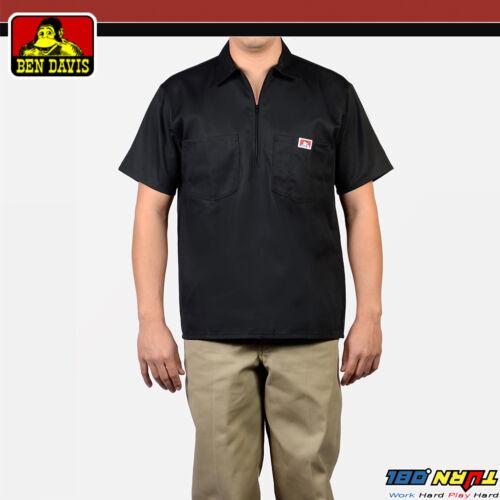 Ben Davis Mens Short Sleeve 1//2 Zip Shirts Pocket Stripe Solid Twill Half Zipper