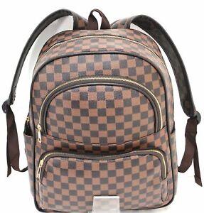 13d89b9f38 Image is loading New-Designer-Girls-Women-Checked-Rucksack-Backpack-Fashion-