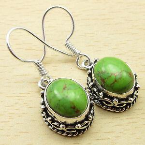 GREEN-COPPER-TURQUOISE-Fabulous-Gem-925-Silver-Overlay-DESIGNER-Earrings-3-3CM