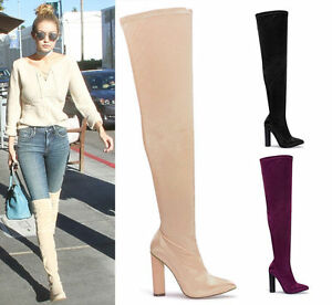 Ladies-Womens-Satin-Lycra-Thigh-Block-High-Heel-Stretch-Over-The-Knee-Boots-Size