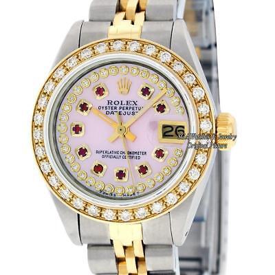 Rolex Watch Lady Datejust SS/18K Yellow Gold Pink MOP Diamond Dial Diamond  Bezel