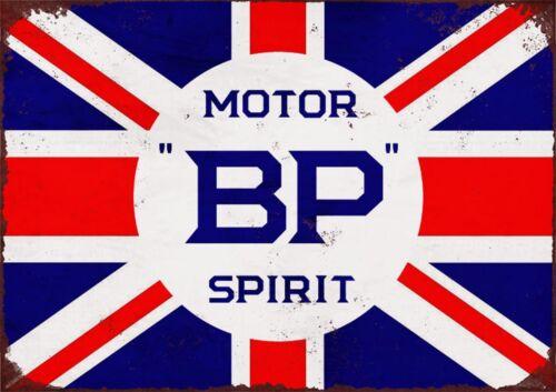 BP Motor Spirit Poster Retro Vintage Petrol Station United Kingdom Flag Picture