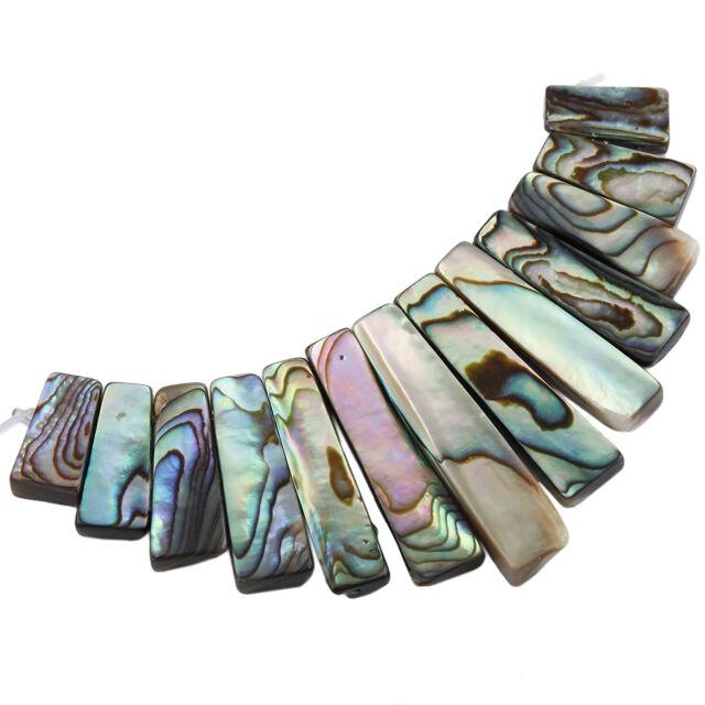 1Set=13Pc New Zealand Abalone Shell Bars Sticks Loose Beads Pendant Set Findings