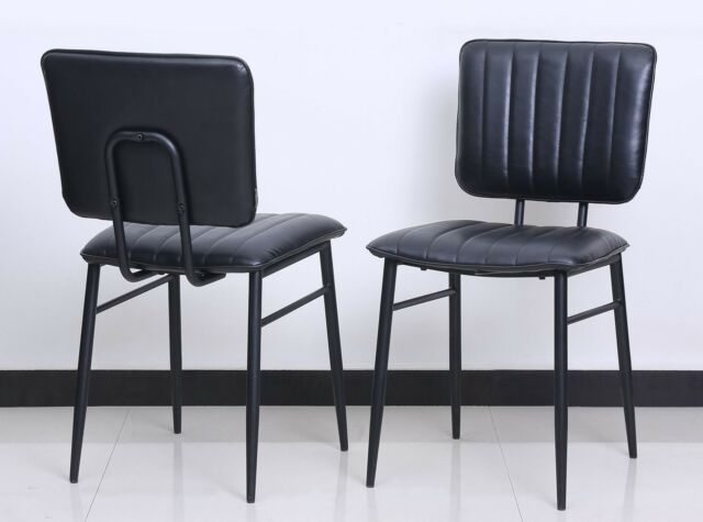 4 Set Design Chaise de Salle à Manger Harvey Similicuir Métal Noir