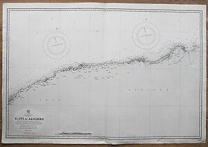 Details about 1867-70 ALGERIA ORAN ALGIERS VINTAGE ADMIRALTY CHART MAP