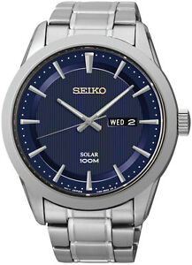 Seiko-Solar-SNE361-Mens-Stainless-Bracelet-Day-Date-100M-Blue-Dial-43mm-Watch