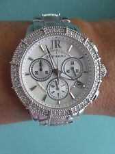 Judith Ripka SILVER SS Diamonique Chronograph Watch New Battery AVERAGE New wBox