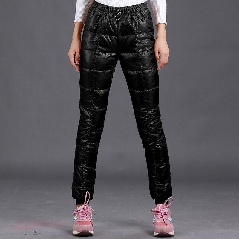 Stylish Women's Down Cotton Pants Warm Slim Fit Casual Trousers Outdoor Winter