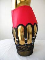 Large Red Lycra 14 Black Strap Burlesque Designer Suspender Belt 36-38 Waist