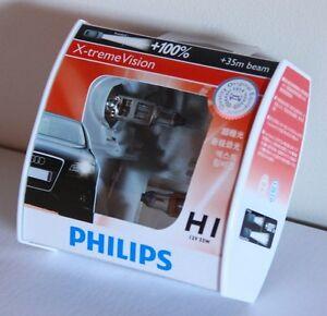 A-Pair-of-Genuine-Philips-H1-12V-55W-X-treme-Vision-Bulbs