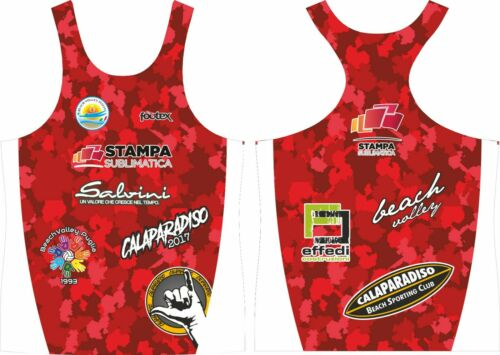 FOOTEX Canotta Beach Volley CAMOUFLAGE Giometrico Made in Italy Colore Rosso
