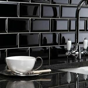 Image Is Loading Wall Tiles Metro Brick Effect Black Ceramic Tile