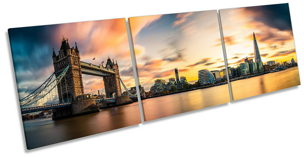 London Skyline City Tower Bridge Framed CANVAS PRINT Triple Wall Art
