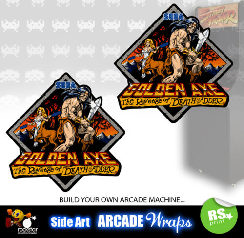 Golden Axe Arcade Side Artwork Panel Stickers Graphics  / Laminated All Sizes