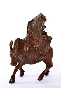 1900 Chinese Hard Wood Carved Carving Immortal Buddha Figure ZhangGuoLao Donkey