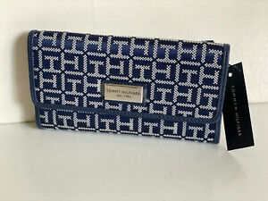 NEW-TOMMY-HILFIGER-BLUE-CHECKBOOK-CLUTCH-PURSE-WALLET-SALE