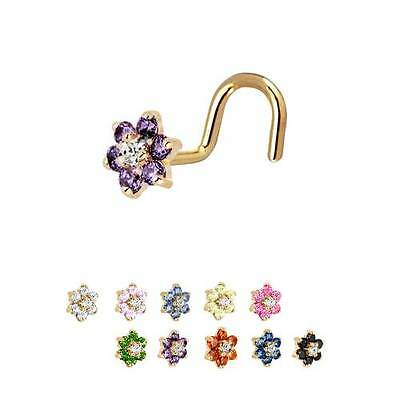 18K Solid White or Yellow Gold Nose Ring Stud Screw L Bend Bone 2.5mm CZ 22G