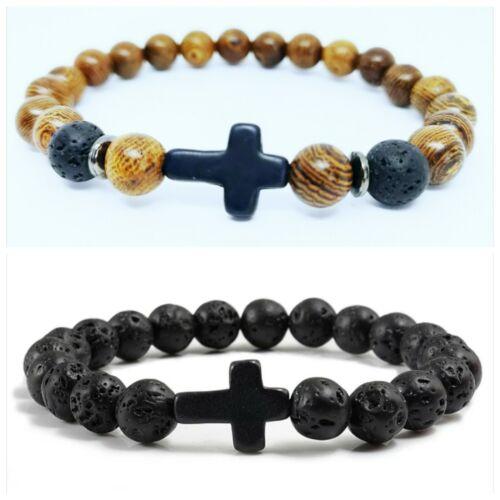 Wooden Beads Natural Lava Beads Cross Bracelets Men Women *UK*