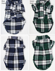 SMALL-Dog-Plaid-T-Shirt-Pet-Puppy-Flannel-Doggie-Jacket-Clothes-Blue-Green-Plaid