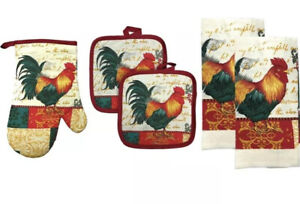 Details about 5 Pc Rooster Kitchen Towel Oven Mitt and Potholder Kitchen  Linen Set All Cotton