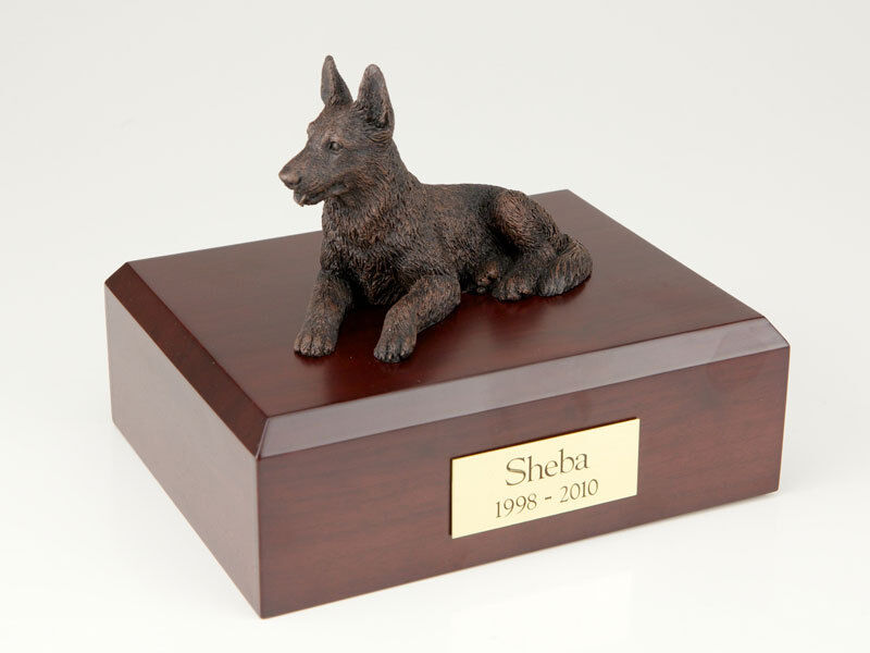 German Shepherd, Bronze Pet Funeral Cremation Urn Avail in 3 Diff Colors 4 Sizes