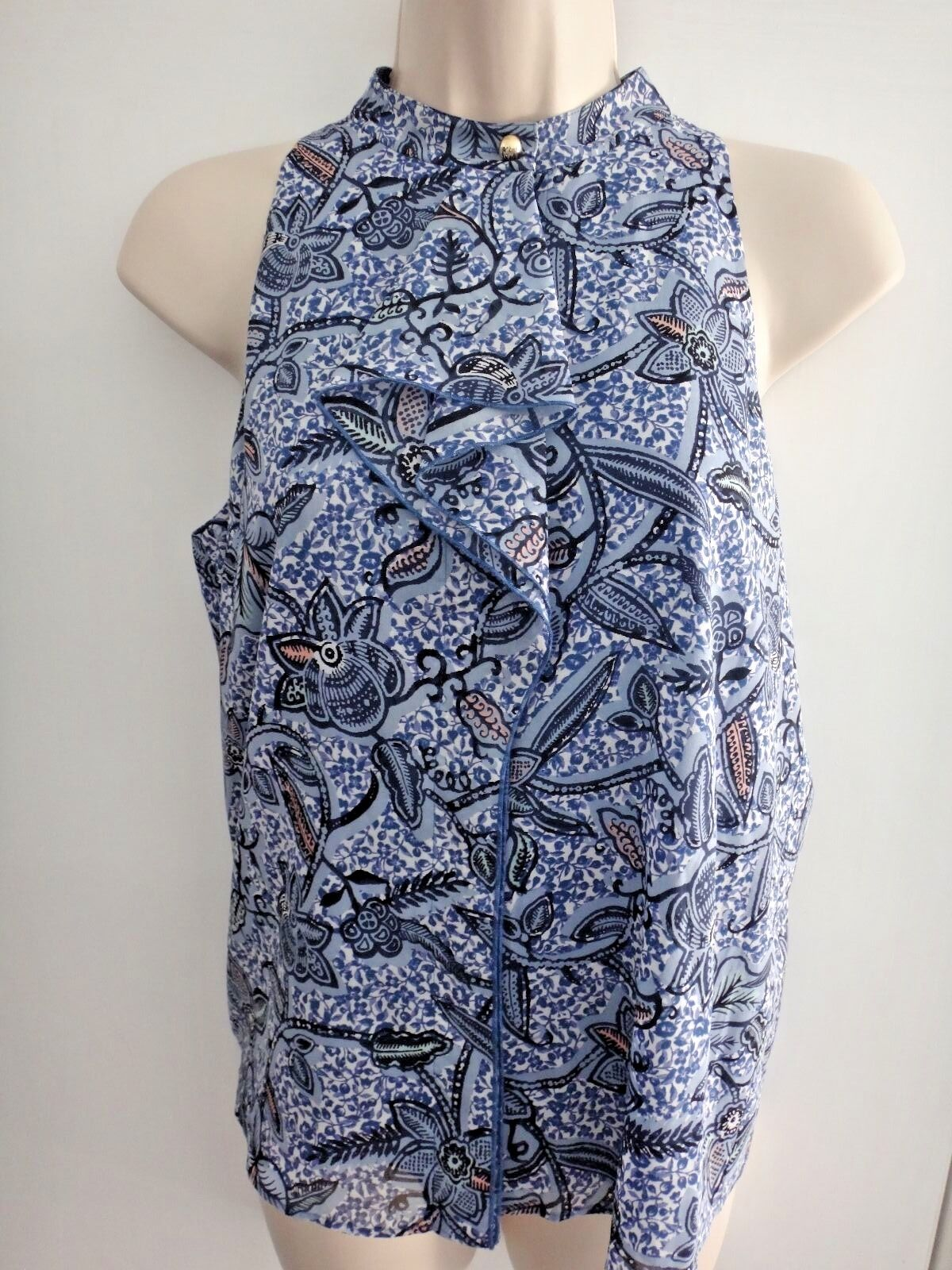 Tory Burch Chelsea sleeveless top bluee haven paisley multi Small NWT style 30711