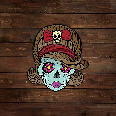 Female Zombie With Skull Bow Sugar Skull Decal Sticker