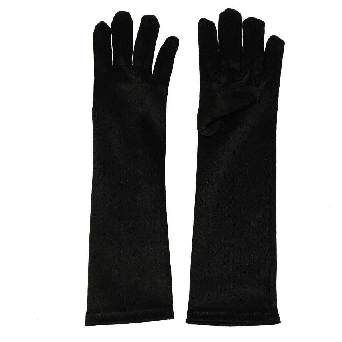 Kids Children Girls Satin Stretch Shiny Fancy Dressy Elbow Gloves
