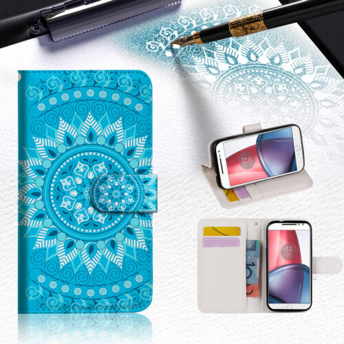 1 of 1 - BLUE AZTEC TRIBAL Wallet TPU Case Cover For Motorola Moto C -- A001