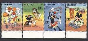 Lesotho-1992-DISNEY-Rosso-Indiano-vita-Mickey-4v-s5541a
