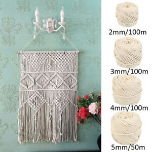 2-3-4-5mm-Macrame-Rope-100-Natural-Beige-Cotton-Twisted-Cord-DIY-Craft