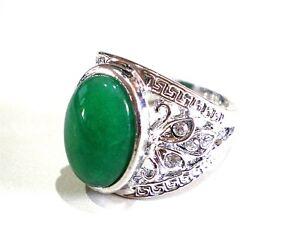 Design For Rings With Stones | Silver Plated Floral Design Ring Green Jade Stone Clear Crystal Ebay