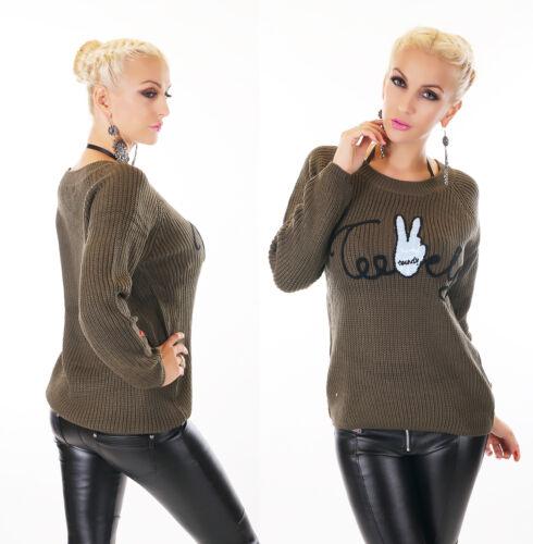 Damen Pullover Sweater Grob Strick Pulli Aufnäher Schriftzug 36 38 40