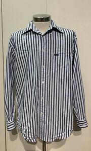 Faconnable-Mens-Medium-Long-Sleeve-Button-Down-Dress-Shirt-Blue-Striped