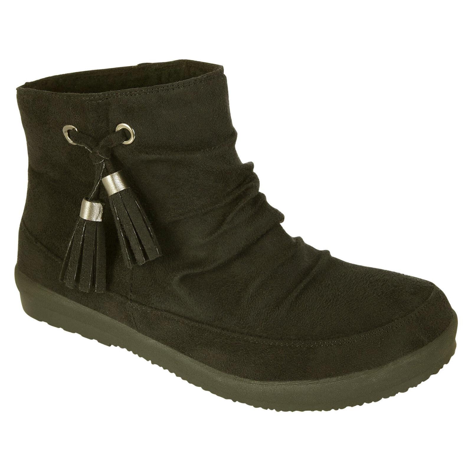 NEW Women's UNIONBAY LIZ Black Faux Suede/Fur Winter Slip On Boots Shoes