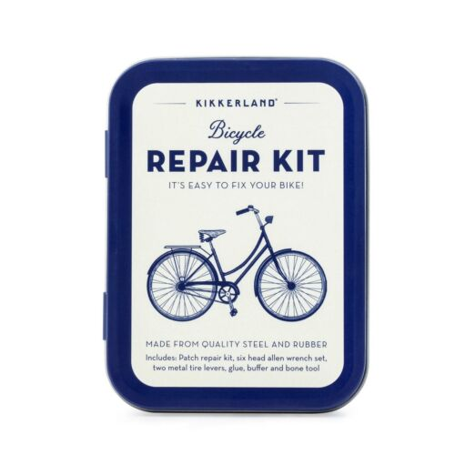 Kikkerland Bicycle Repair Kit Small Compact Portable Cycle Fix Tyre Puncture Tin
