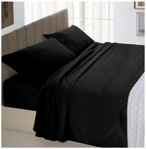 Completo-letto-set-lenzuola-matrimoniale-nero-2-piazze-maxi-cotone-made-in-italy