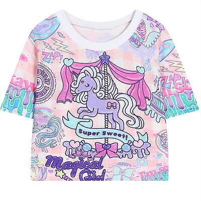 Harajuku Camiseta Lolita Gracioso Unicornio Hourse Corto Cute Informal 2016