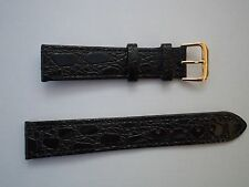 16MM BLACK ECO LEATHER CROCODILE GRAIN WATCH STRAP WITH GOLD COLOURED BUCKLE
