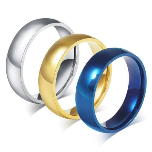 316L Stainless Steel Band Rings Men/'s//Women/'s 6mm Blue//Gold//Black Ring Size 4-15