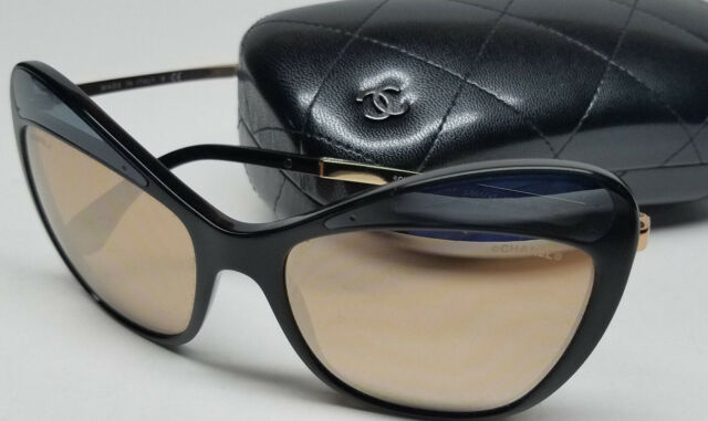 aa32444f1a Authentic CHANEL Womens Sunglasses Black Gold  5377 501 4Z NEW w Hard Case